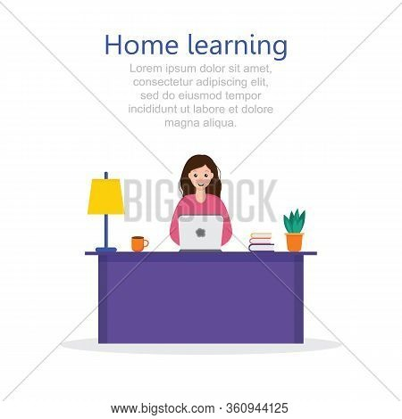 Student Learning Online At Home. Character Sitting At Desk, Looking At Laptop And Studying, Books An