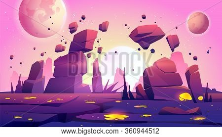 Space Game Background With Landscape Of Alien Planet With Rocks, Cracks And Glowing Spots. Vector Ca