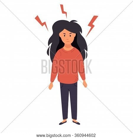 The Woman Is Angry. Feeling Of Aggression. A Woman Stands And Clenches Her Hands Into Fists Around H