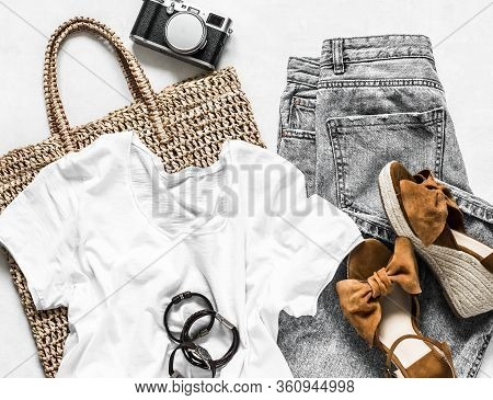 Women's Clothing Summer - Grey Mom's Jeans, Suede Brown Wedge Sandals, White Cotton T-shirt, Eco Bag