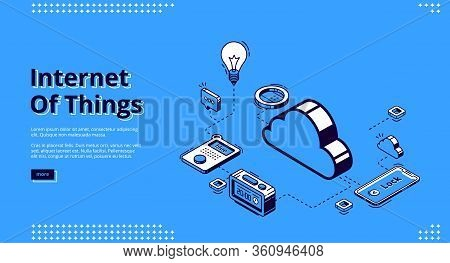 Internet Of Things Banner. Technology Of Smart Home Concept. Vector Landing Page Of House Control Sy