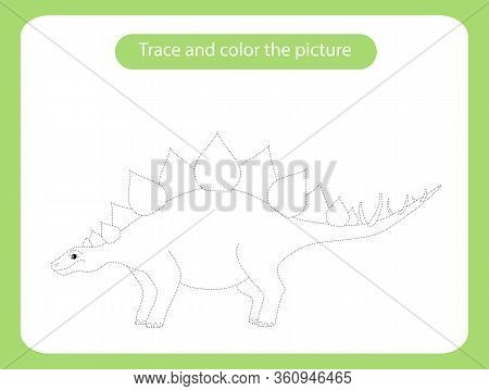 Stegosaurus Dinosaur. Trace And Color The Picture Children S Educational Game. Handwriting And Drawi