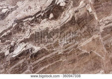 Close Up Of Brown Marble Stone Seamless Background Pattern Or Texture.