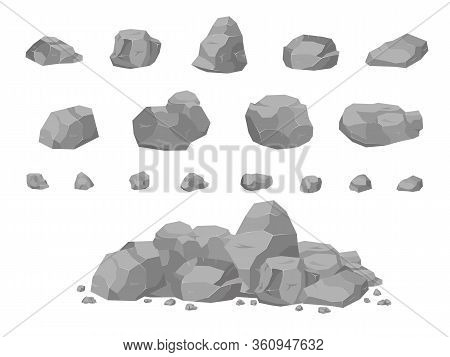 Set Of Stones In The Style Of 3d Isomerism. Stones Of Different Shapes For Web Design. Rock Stone Se