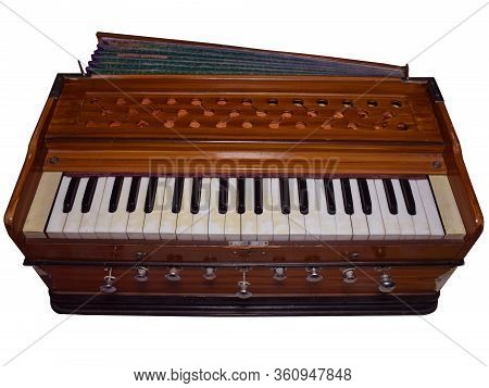 Harmonium A Musical Instrument Isolated In White Background