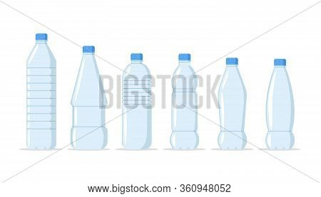 Plastic Water Bottles Realistic Set Of Large Containers For Cooler And Small Tare For Retail Sale. H