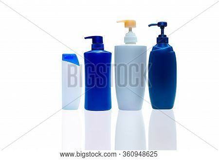 Shampoo And Hair Conditioner Plastic Bottle And Dispenser Pump. Cosmetic Bottle Isolated. Body Soap