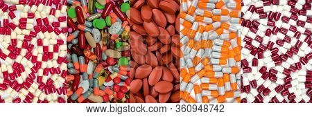 Vitamins And Supplements. Colorful Of Pills. Many Of Capsules And Tablets Pills. Pharmaceutical Indu