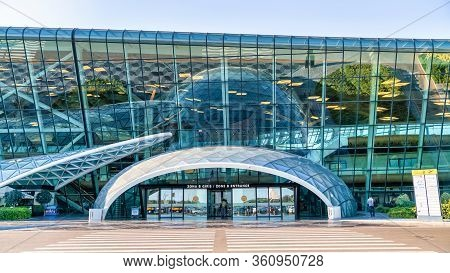 Baku, Azerbaijan - July 2019: Baku Heydar Aliyev Airport Main Entrance Door, Azerbaijan