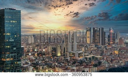 Istanbul, Turkey - December 2019: Aerial View Of The City Downtown And Skyscrapers. Skyscrapers And