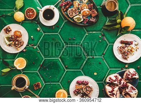 Turkish Traditional Lokum Sweet Delight With Turkish Coffee, Copy Space