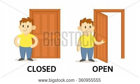 Words Closed And Open Flashcard With Cartoon Characters. Opposite Adjectives Explanation Card. Flat