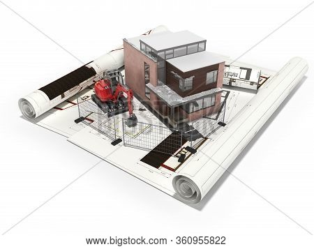 3d Rendering Concept Drawing Of Cottage House With An Excavator And Fence On White Background With S