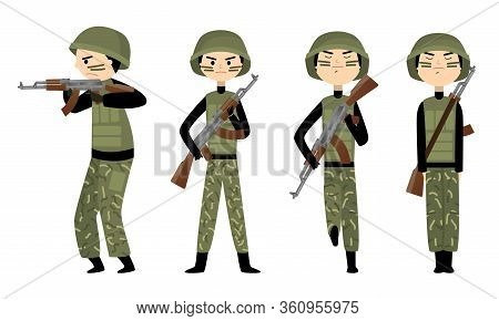 Men In Dark Green Traditional Military Uniform Working In Army And Forces