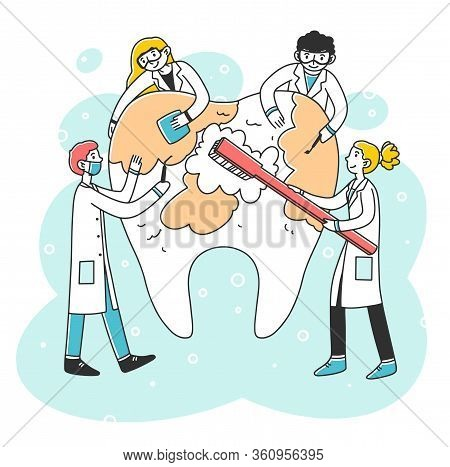 Happy Dentists Cleaning Big Tooth With Toothbrush Flat Vector Illustration. Doctors Diagnosing Carie