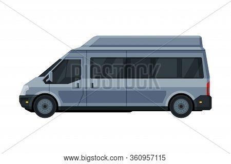 Gray Mini Van Car, Public Or Cargo Transportation Vehicle, City Commercial Mini Bus Flat Vector Illu