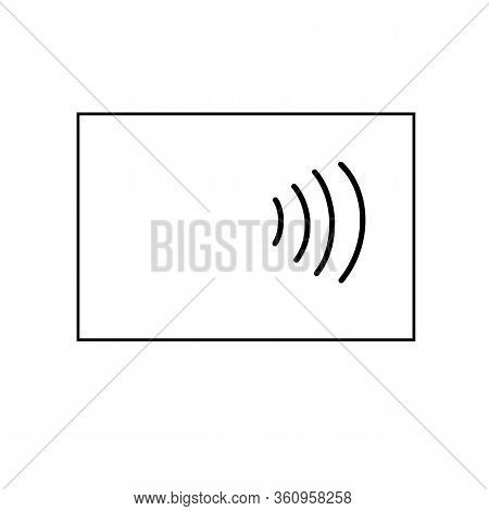 Contactless Bank Card Silhouette, Contactless Payment Concept, Black Outline, Vector Illustration