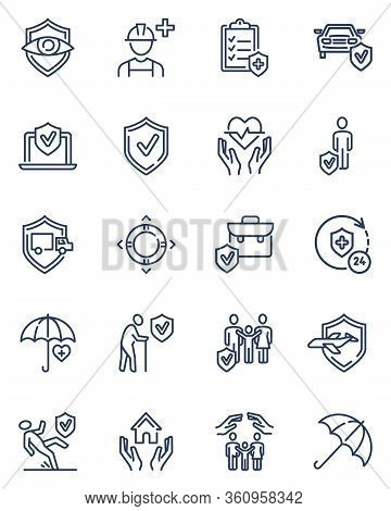 Insurance Line Icons Set. Life, Health, Car, Property, Business Insurance, Protection Service, Shiel