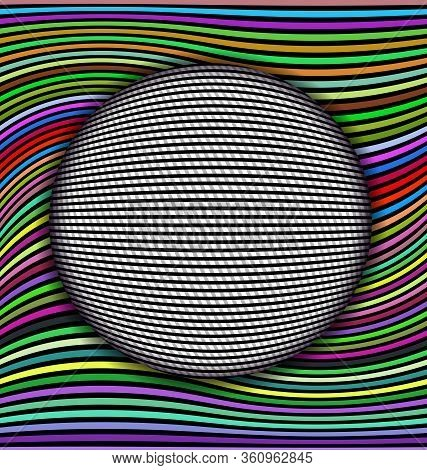 Vector Illustration Black And White Abstract Colored Lines And Ball