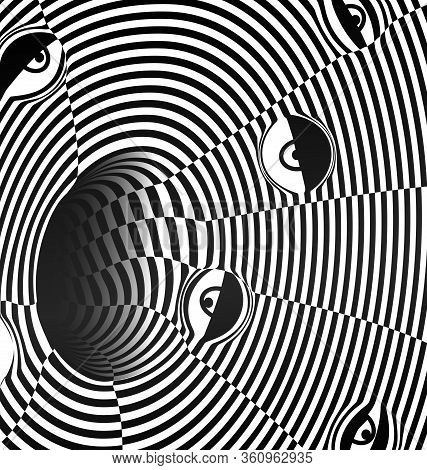 Black And White Vector Illustration Abstract Dark Hole With Eyes