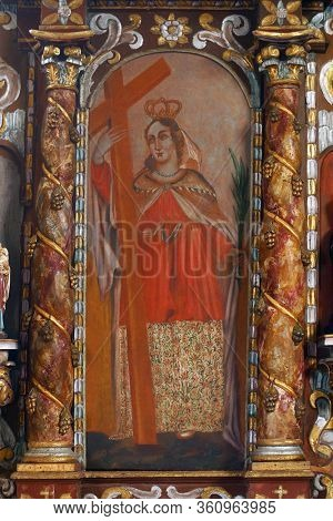 LAZ, CROATIA - JULY 14, 2014: Saint Helena altarpiece at Saint Andrew's Church in Laz, Croatia