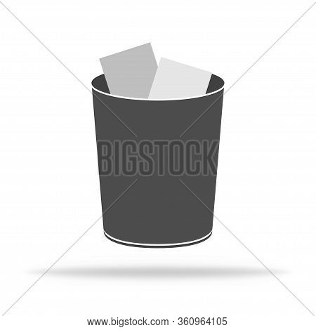 Trash Bin For Garbage. Waste Dustbin For Recycle Plastic Or Paper. Ecology Icon As Rubbish. Vector E