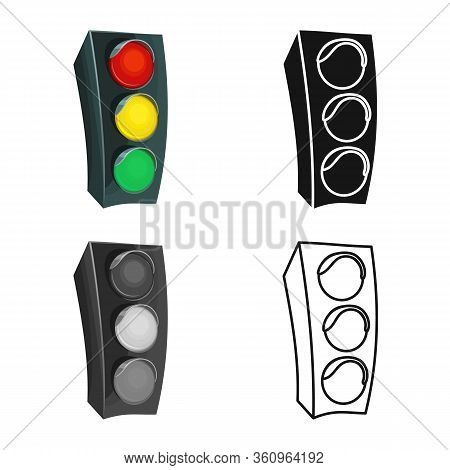 Isolated Object Of Stoplight And Light Sign. Graphic Of Stoplight And Signal Stock Vector Illustrati