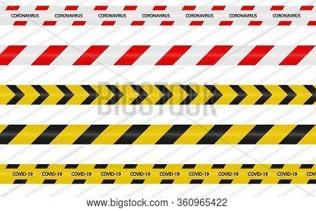 Danger Tape Quarantine. Warning Coronavirus Tape Fencing. Black And Yellow Vector Diagonal Stripes.