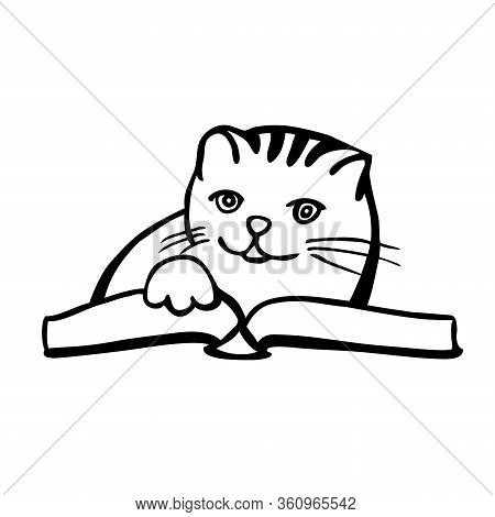 Cute Cat Reading A Book Vector Illustration. Paw On The Book,whiskers, Smiling Character.