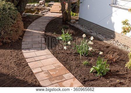 New Walkway Footpath At House Yard Garden