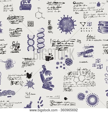 Vector Seamless Pattern On The Theme Of Chemistry, Microbiology, Medicine, Genetics, Laboratory Rese
