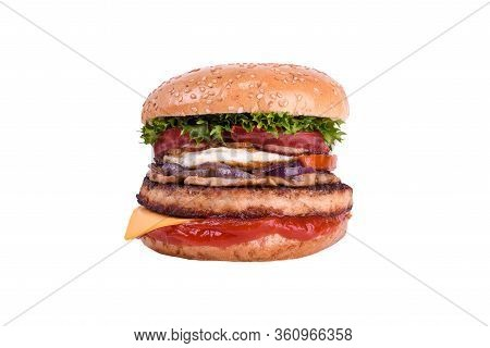 Fresh Burger With Pork And Beef, Chicken Egg, Cheddar, Mushrooms, Bulgarian Grilled Pepper, Carameli