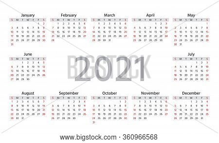 Calendar 2021 Year. Week Starts Sunday. Simple Template Of Pocket Or Wall Calenders. Yearly Organize