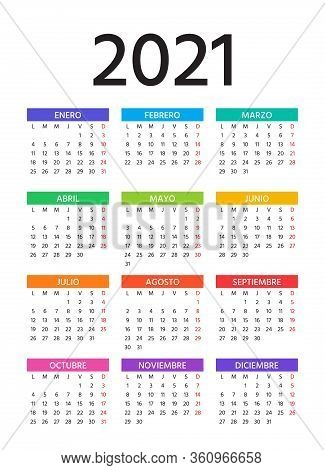 Spanish Calendar 2021 Year. Vector. Week Starts Monday. Simple Template Of Pocket Or Wall Spain Cale
