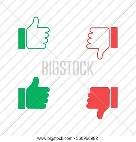 Thumb Up And Down Icon. Good Or Bad, Like And Dislike Set. Isolated Illustration. Success And Bad Fi