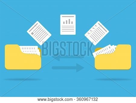 File Transfer Flat Icon. Document In Computer Folder Illustration. Flying Paper To Send And Exchange