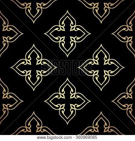 Damask Black Seamless Background. Filigree Oriental Luxury Ornament. Decorative Pattern In Mosaic Et