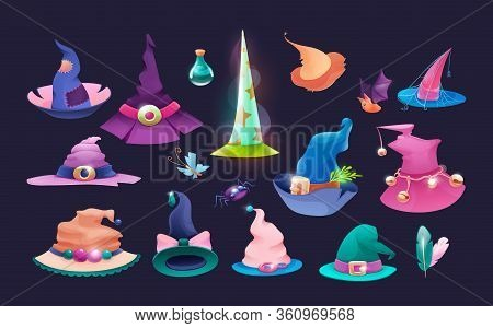 Set Of Wizard Hats, Old Hat Witch On Halloween.