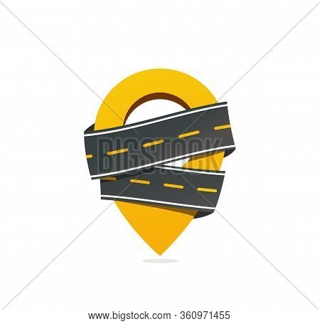 Geotag Sign With Asphalt Road Vector Icon. Get Taxi Vector Icon. Moving Logo