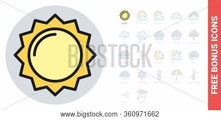 Sun Or Sunny Icon For Weather Forecast Application Or Widget. Simple Color Version. Contains Free Bo
