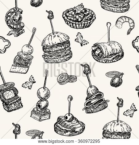 Finger Food Vector Seamless Pattern. Food Appetizer And Snack Sketch. Canapes, Bruschetta, Sandwich