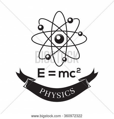 Black And White Vector Icon Science Physics. E Equals Mc2. Formula For The Equivalence Of Mass And E