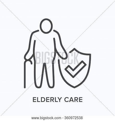 Elderly Citizen Care Line Icon. Vector Outline Illustration Senior Man Medical Insurance Protection.
