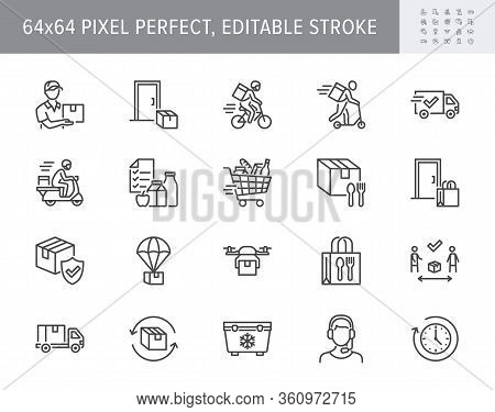 Food Delivery Line Icons. Vector Illustration Included Icon As Coutier On Bike, Door Contactless Del