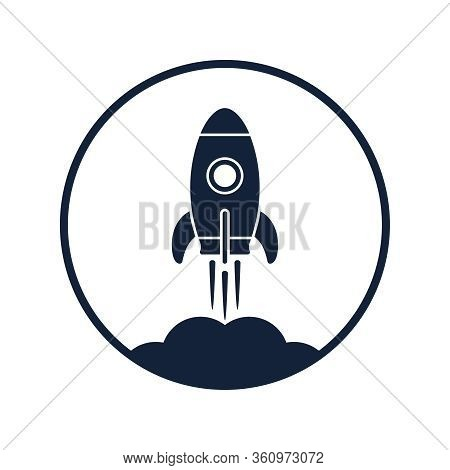 Rocket Rocketing Graphics Icon. Spaceship Startup Sign. Spacecraft Symbol In The Circle Isolated On