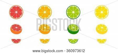 Citrus Collection. Set Of Fresh Fruit In Flat Design. Grapefruit, Lime, Orange And Lemon, Isolated O