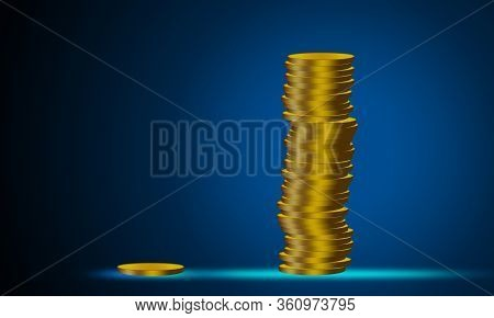 Wealth Inequality Concept With Coins Stack, 3d Rendering