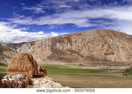 The Scenery Of The Sacred Kailash Valley. The Road To The Mountain Of The Believers. A Holy Place Fo