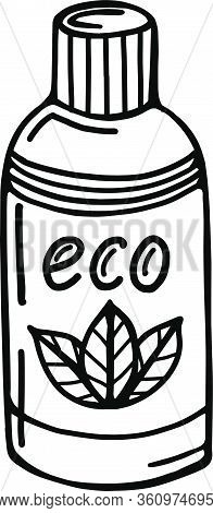 Hand-drawn Eco Bottle Isolated On A White Background. Vector Illustration In The Style Of Organic Co