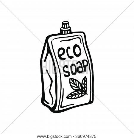 Hand-drawn Packaging With Liquid Soap, Isolated On A White Background. Vector Illustration In The Do